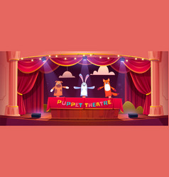 Puppet show on theater stage with animal dolls vector
