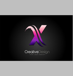 purple violet x letter design brush paint stroke vector image