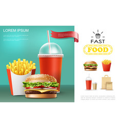 Realistic fast food template vector