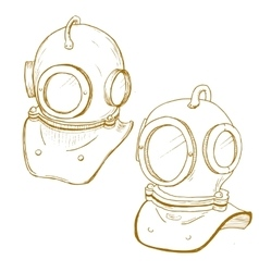 Retro diving suit helmet vector