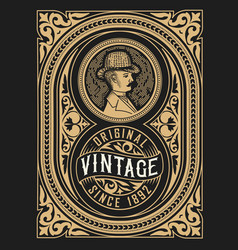 retro label design with gentleman and flora vector image