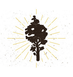 retro tree silhouette logo vector image