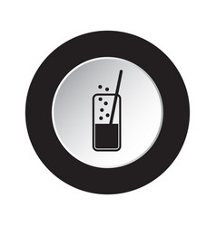 Round black white icon - carbonated drink straw vector