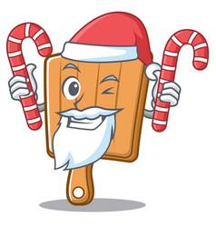 santa with candy kitchen board character cartoon vector image vector image