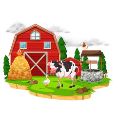 scene with farm animals on the farm vector image
