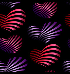 seamless pattern with bright decorative hearts vector image