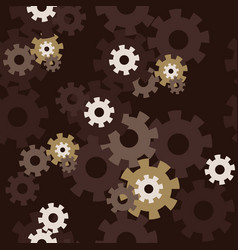 seamless pattern with gears on dark background vector image
