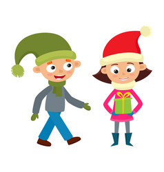 set of walking young teenages in winter clothes vector image