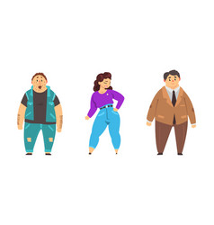 set plump people overweight male and female vector image