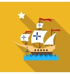 Ship with flag of Columbus in sea icon flat style vector image