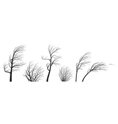 Silhouette set trees and bushes without leaves vector