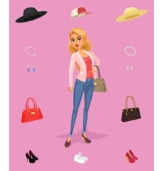 smiling girl-shopper vector image