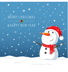 Snowman cartoon character for christmas cards and vector