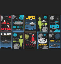 Space journey alien contact and ufo banner vector