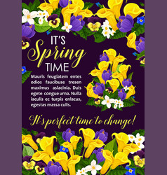 Spring flower and blooming plant greeting card vector