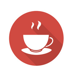 steaming teacup flat design long shadow icon vector image