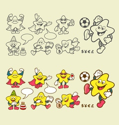 Superstar cartoon icons vector image