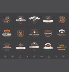 sushi restaurant logos and badges set japanese vector image
