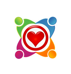 team of loving people heart logo vector image