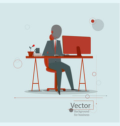the man sits at table and receives calls from vector image
