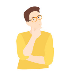 Thoughtful guy with glasses smart man solving a vector
