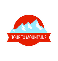 tour to mountains - coat arm round blazon with vector image