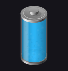 Transparent glass battery light blue color vector