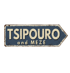 tsipouro and meze vintage rusty metal sign vector image