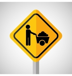 Under construction road sign wheelbarrow vector