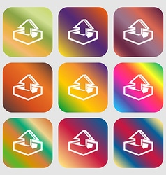 Upload icon Nine buttons with bright gradients for vector image
