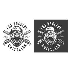 vintage monochrome baseball club emblem vector image