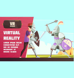 Virtual reality medieval contest ad vector