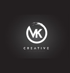 Vk circular letter logo with circle brush design vector