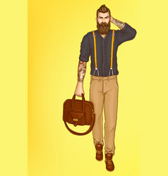 walking stylish hipster man pop art vector image