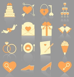 Wedding color icons with reflect vector image