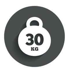Weight sign icon 30 kilogram kg sport symbol vector