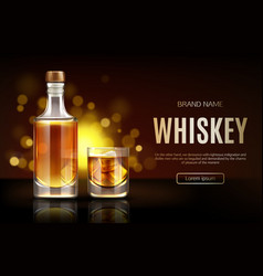 Whiskey bottle and glass mockup promo ad banner vector