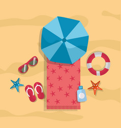 beach summer tourism umbrella towel sunglasses vector image