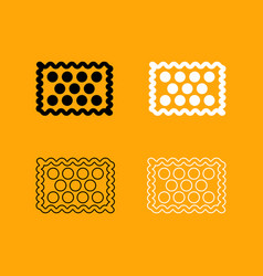 cookie black and white set icon vector image vector image