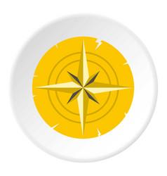 Gold ancient compass icon circle vector