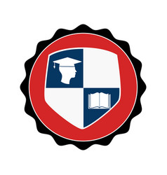 stamp circular with shield elements graduation vector image