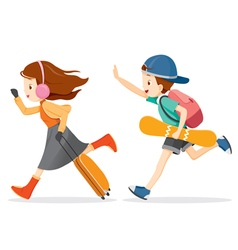 Boy And Girl Running To Travel vector image vector image