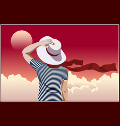 girl in hat and pink sky vector image