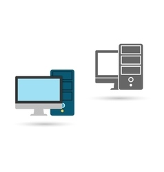 Monitor screen with pc icon flat vector image
