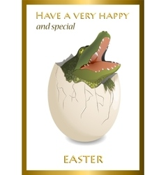 Happy Easter funny card Crocodile egg vector image vector image
