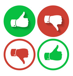 thumb up and down symbols human hand icon vector image vector image