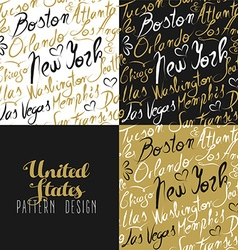 Travel america usa pattern city new york gold vector image vector image