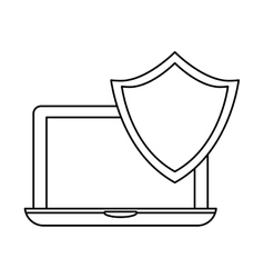 laptop shield server banner icon vector image