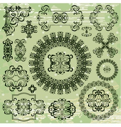 ornamental pattern on green background vector image vector image
