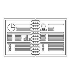 wired notebook with business information icon vector image